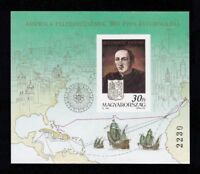 HUNGARY 1991 - Discovery of America. Columbus. S.Sheet. MNH. Imperf. €75