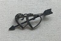 """Cupid Arrow Pin Brooch Marcasite Double Heart Love Sterling Gothic FAS 1 7/8"""""""