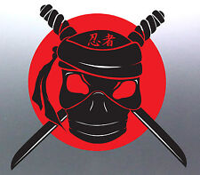 Ninja Red sun Japan Skull Swords import drift 100 x 105 mm kawasaki Sticker Bike