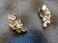 WEISS Vintage Crystal Clear rhinestone clip on  earrings! Clear climbers!