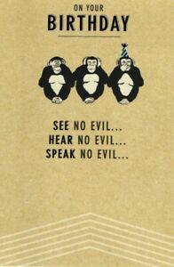Open Male Birthday Card ~ Monkeyin Around By Hallmark ~ Free P&P