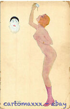 Raphael Kirchner Postcard - Woman with Pierrot Mask - K052