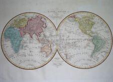 1835 ORIGINAL MAP WORLD UNITED STATES CHINA AMERICA ASIA AUSTRALIA EUROPE AFRICA