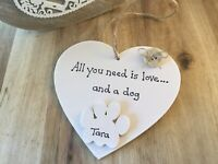 Personalised Dog Lover Gift Hanging Heart Xmas Birthday Home Handmade Plaque