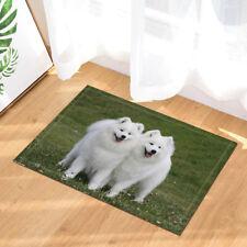 "Two Samoyed Dogs Bathroom Rug Bath Mat Non-Slip Floor Door Mat 16x24"""