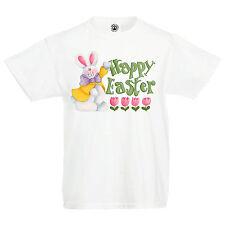 "Kids ""Happy Easter"" eggs hunt bunny chocolat lent celebration T Shirt"
