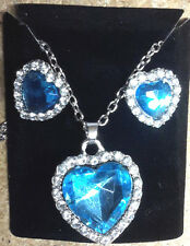 Titanic Movie Heart of the Ocean Necklace & Earring Set-Gift Box- FREE S&H