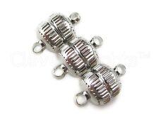50 Magnetic Clasp Converters - Deco Drum Style - Silver Color - Wholesale Magnet