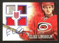 2013-14 Panini Prime card  #169 Elias Lindholm Autograph 4 Color patch 34/50