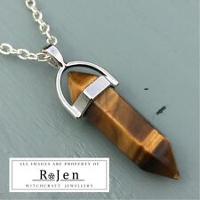 Silver Plated Golden Tigers Eye Point Pendant & Chain Wicca Reiki Chakra
