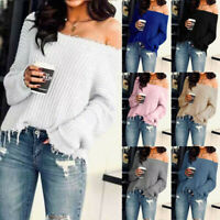 Women Ladies Loose Long Sleeve Off Shoulder Knitted Sweater Jumper Tops Blouse A