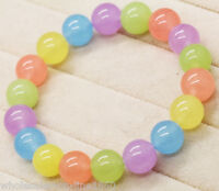 "Natural 8mm Mix Color Jade Gem Round Beads Stretchy Bracelet Bangle 7.5""AAA"