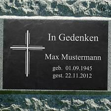 Grabstein Doppelkreuz ►Kreuz und Wunschgravur◄ Gedenktafel Grabtafel 50 x 30 cm