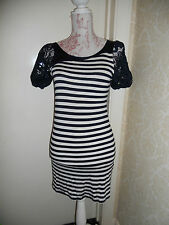 vero Moda navy blue white striped mini dress 8 10 + lace puff sleeves retro chic