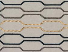 Designer Drapery Upholstery Fabric Geometric Open Circuit Design - Gray Multi