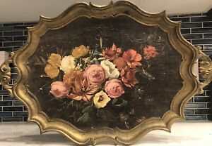 Vintage Gold Gilt FlorentineToleware Tole HP Painted Tray FLORAL FLOWERS Italy