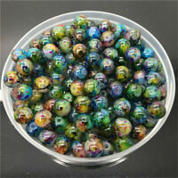 30Pcs Double Color Glass Pearl Round Spacer Loose Beads Jewelry Making DIY 8mm