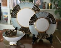 Vintage Alka Bavaria Gold on Teal/Black Tea Set with Cup, Saucer and Plate