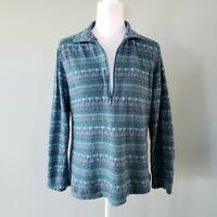 Woolrich 1/2 Zip Pullover Sweater Fair Isle Womens Medium 100% Cotton Blue Green