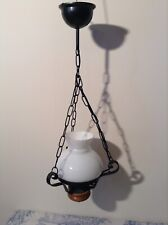 French Farmhouse Style Opaline Glass Ceiling Light