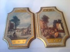 """Vtg14"""" Long Italian Art Florentine Wood Wall Plaque/Hanging w Gold Foil Italy"""