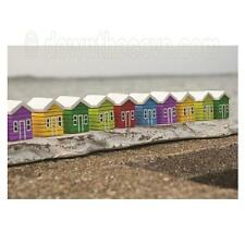Row of 10 Wooden Beach Huts - Seaside Ornament - Great Gift - 1st Class Post!