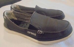 Crocs Womens 9W Walu Slip On Loafer Casual Comfort Shoes Dark Brown Canvas