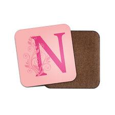 1 x lettera N iniziale Coaster-Rosa Floreale Dusty Rose Sole Sfumati NOME REGALO #29368