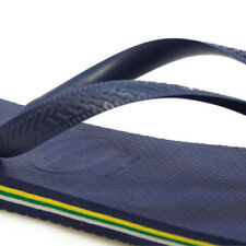Womens Havaianas Brazil Logo Flip Flop Navy Rubber Sandals UK 6 - 7