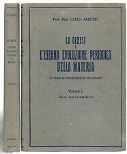 Palmeri LA GENESI E L'ETERNA EVOLUZIONE PERIODICA DELLA MATERIA in 2 volumi 1935