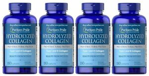 Puritans Pride Hydrolyzed Collagen 4000 mg - 180 Caplets 4 Pack