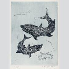Herbert Weitemeier - Haifischpaar - signierte Farbradierung 1980