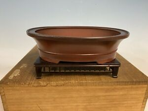 "Oval Red Clay Shohin Size Tokoname Bonsai Tree Pot By Bigei 7 1/2"""