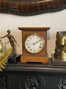 Arts & Crafts Oak Mantle Clock With French Movement In Working Order