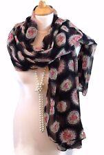 FEMME VINTAGE CAMEO Imprimé Floral Noir Rouge Blanc Pashmina Scarf Wrap