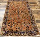 "4'3""x7' Authentic 1920's 200+ KPSI Old Vegetable Dyed wool Sarouk Oriental rug"