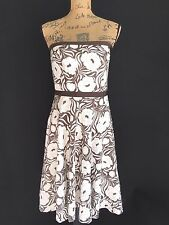 Ann Taylor 6 Med Dress Silk Cotton white brown floral strapless corset wedding