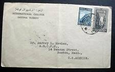 TURKEY SMYRNA  COVER FROM INTERNATIONAL COLLEGE  TO BOSTON USA