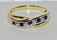 9ct Yellow Gold & Silver Blue Sapphire & Diamond Crossover Eternity Ring size O