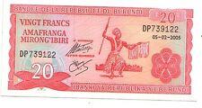 Burundi 20  franchi 2005     FDS UNC      Pick 27 d      Lotto 3572