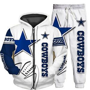 Dallas Cowboys 2PCS Tracksuit Casual Zipper Hoodie Jogging Pants Sports Suit Set