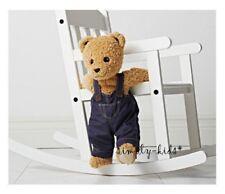 "Ikea Teddy Bear Brumma Plush Stuffed Animal Brown Jointed Blue Overalls 18"" NEW"