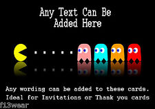 RETRO GAME Personalised Birthday Party Invitations  A6 + envelopes MAN PAC GHOST