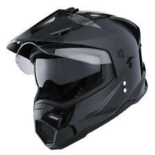Dual Sport Dual Visor Motorcycle Motocross Full Face Helmet GlossyBlack