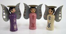 Miniatur Engel Kerzenleuchter Trio versch. in lila - rosa - creme Farbe ca. 9 cm