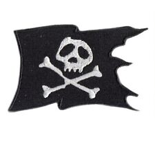 "(G5) SKULL and CROSSBONES FLAG Die-cut 3 1/4"" x 2 1/8"" iron on patch Jolly Roger"