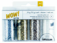 American Crafts Wow! Glitter Extra Fine Set Dual Pour or Sprinkle Tops Metallics