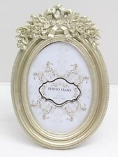 Ornate Antique Champagne Gold Bow & Flower Chic N Shabby Oval Photo Frame 5x7""