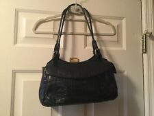 MAXX New York Black Croco Embossed Leather Satchel Tote Hobo Purse Shoulder Bag