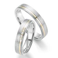 2 Trauringe Eheringe 925 Silber mit DIAMANT+GRAVUR+GOLD Platiert+SOLITÄRRING 133